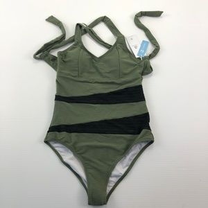 Cubshe Small One Piece Green Black Beach Swimsuit